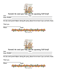 Fall Party Parent Letter