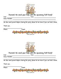 Fall Party Parent Letter