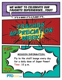 Superhero Teacher Appreciation Event Announcement