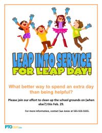 Leap Day Community Service Flyer