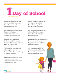 PTO Today: First Day of School Poem (girl/boy)