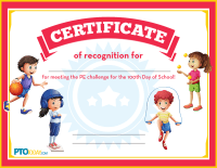 Certificate for 100th Day PE Challenge