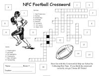 NFC Football crossword collection sheet