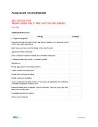 PTO Today: Auction Event Timeline Checklist