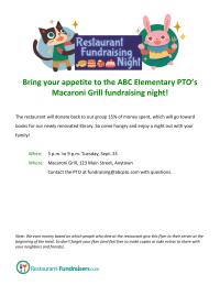 Restaurant Fundraising Night Flyer