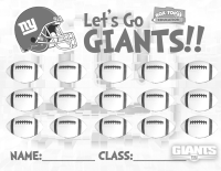 Let's Go Giants, Superbowl Sunday BTFE Collection Sheet