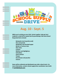 School Supply Drive flyer