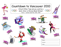Vancouver Olympics Collection Sheet