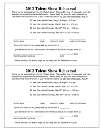 Talent Show Rehearsal Permission Form