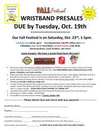 Fall Festival Presale flyer