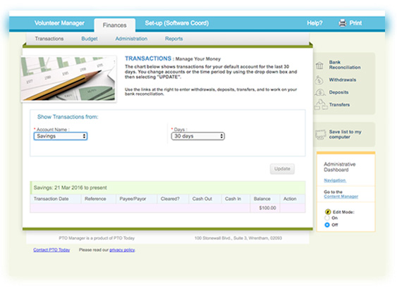 finance manager pto and pta accounting software